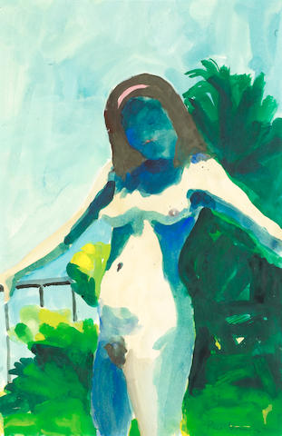 Paul Wonner (American, born 1920) Model in Sunlight on the Patio, 1964 19 x 13in (48.2 x 33cm)