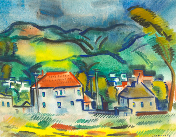 Erle Loran (American, 1905-1999) The Hills of Berkeley, 1938 sight 14 1/4 x 18 1/2in (36.2 x 47cm)