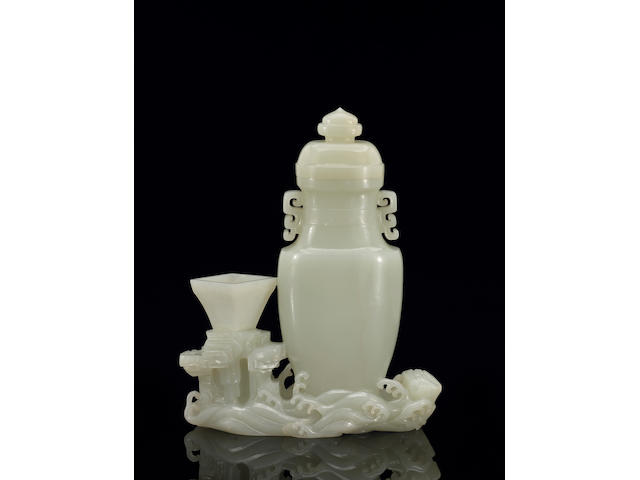 A finely carved white jade vase group 18th Century