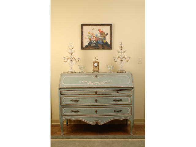 An Italian Rococo blue-painted slant front desk