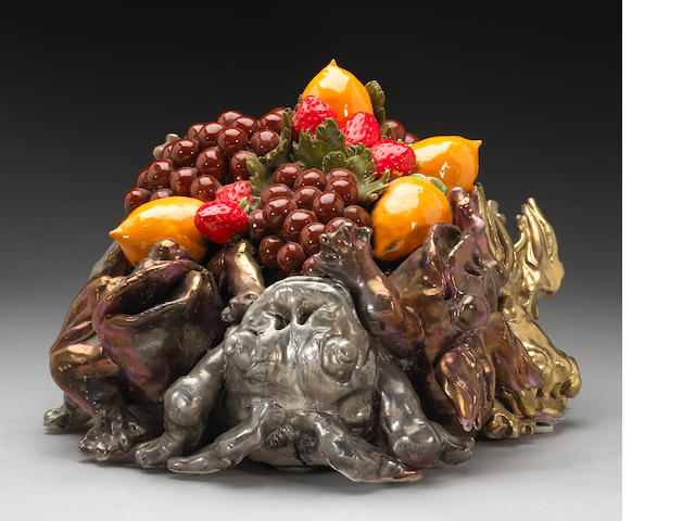 David Gilhouly, Frogs and fruits, ceramic sculptures