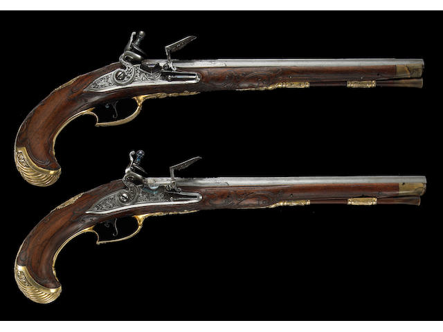 A Pair of Bohemian flintlock pistols by Leopold Becher