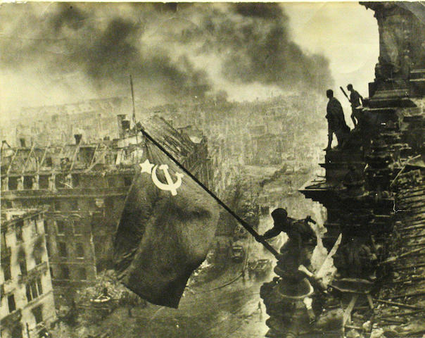 Yevgeny Khaldei Flag over the Reichstag; Two Soldiers Waving the Flat at the Reichstag; (2)