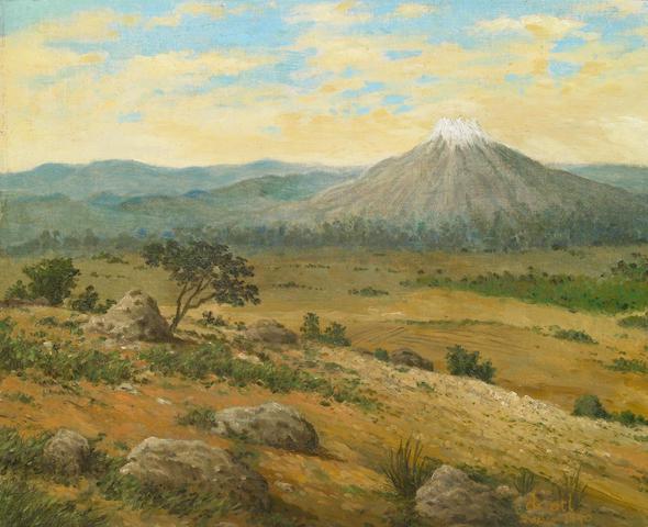 Dr. (Gerardo Murillo) Atl (Mexican 1875-1964), Mountain scene, 1940, oi on linen laid down on masonite
