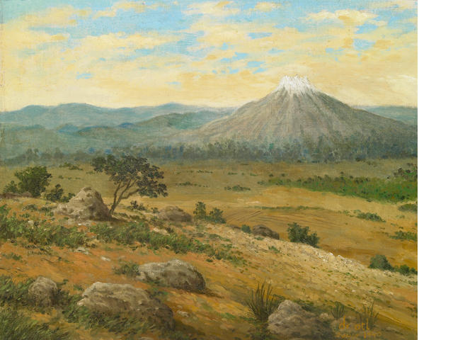 Dr. (Gerardo Murillo) Atl (Mexican 1875-1964), Mountain scene, 1940, oi on linen laid down on masonite