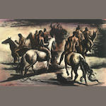 Francis De Erdely (Hungarian/American, 1904-1959) The Horsemen signed watercolor on paper