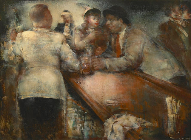 Grigory Gluckmann (Russian/American, 1898-1973) Cocktail Time 14 1/4 x 19 1/2in (37 x 50cm)