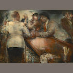 Grigory Gluckmann, Cocktail Time, oil on panel