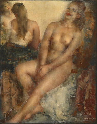 Grigory Gluckmann, Relaxing, oil on panel