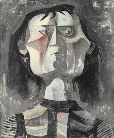 Rico LeBrun, Untitled (Figure) oil on canvas, ca. 1950