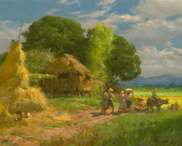 Amorsolo, Village Scene, oil on canvas
