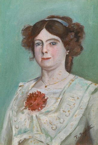 Tsuguharu Foujita, Portrait d'Elisabeth Saliege, 1911, oil on canvas on board