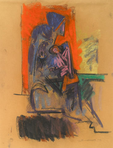 Hans Burkhardt (39), Untitled (Nude), Pastel on paper, 22 x 17 inches