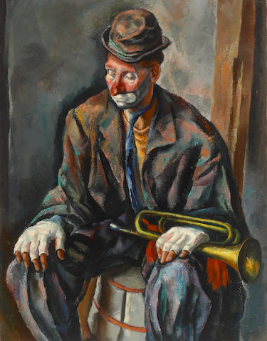 Francis de Erdeley, Huey the Clown, Oil on canvas, 44 x 34 inches