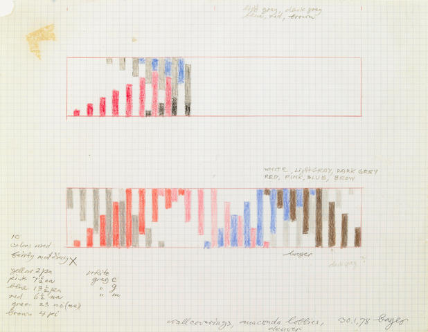 Herbert Bayer, Untitled (Studies for Wall Coverings, Anaconda Lobbies, Denver), 1978, crayon on graph paper