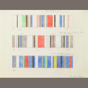 Herbert Bayer, Untitled, crayon on graph paper, 1978