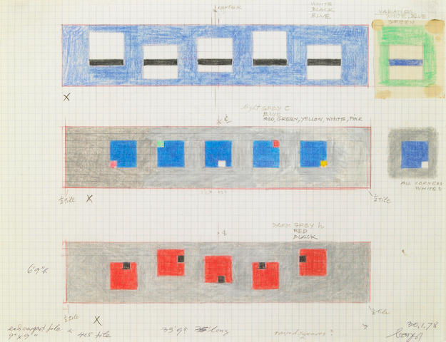 Herbert Bayer (German, 1900-1985) Untitled (Study for Tile Installation), 1978 8 1/2 x 11in (21.5 x 28cm)