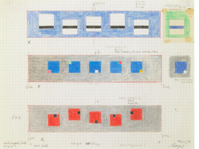 Herbert Bayer, Untitled (Study for Tile), 1978, crayon pn graph paper
