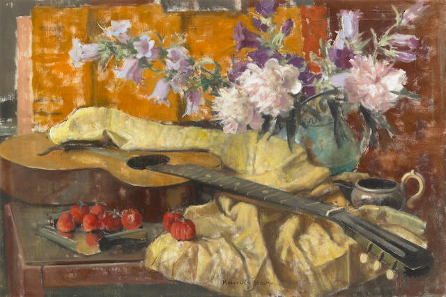 Béla Kontuly (Hungarian, 1904-1983) Still Life with Guitar 24 1/4 x 36in (61.5 x 91.5cm)
