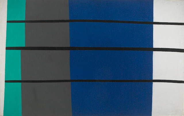 Robert Breer (American, b.1926) Composition en trois lignes, no. 2, 1955 28 1/2 x 45 1/2in (72 x 116cm)