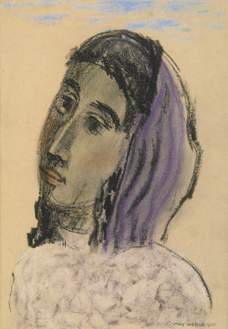 Max Weber, Woman, 1921, pastel on paper laid down