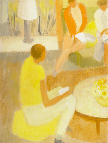 Helen Rousseau (American, 1896-1992) Three Figures in an Interior 40 x 30in (102 x 76cm)