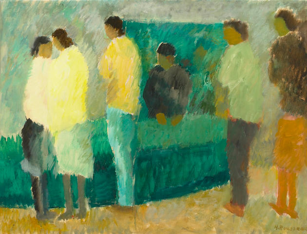 Helen Rousseau, Six Figures, gouache on paper