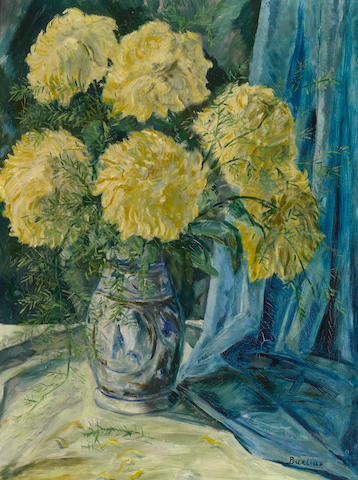 Burliuk, Flowers in a Vase, oil on canvas