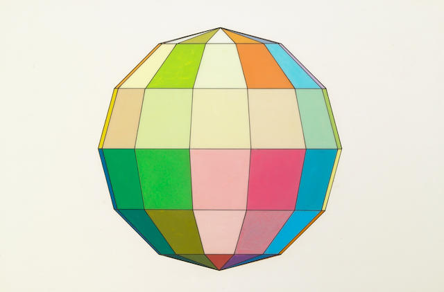 Ron Davis, Untitled (Sphere), 1968, acetate on paper; Untitled (Dodecahedron), 1968, acetate on paper