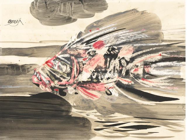 Alejandro Obregon, Barracuda, mixed media on paper, 19 1/2 X 14 in.