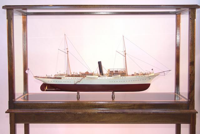 """A good scale model of the Presidential steam yacht """"Mayflower,"""" 20th century overall 50 x 15 x 58in"""