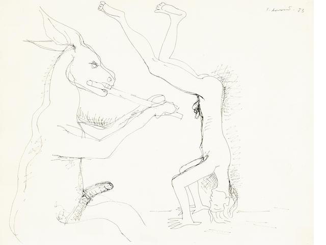 Juan Soriano, Mule and Man, drawing
