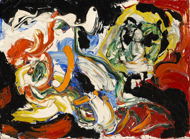 Karel Appel (Dutch, 1921-2006) Untitled, 1958 6 1/4 x 8 3/4in (15.8 x 22.3cm)