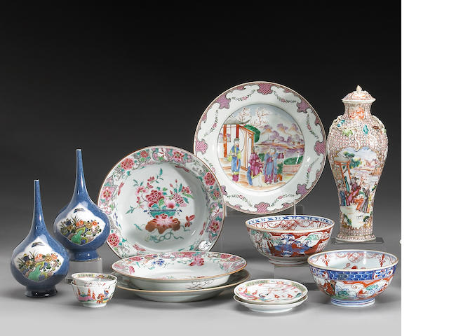 A group of polychrome enameled export porcelains  18th and 19th Century