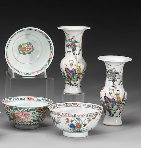 Five overglaze enameled porcelains