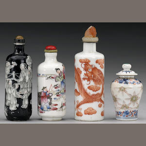 Six enameled porcelain snuff bottles