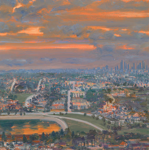 Larry Cohen (American, b.1952) View of Downtown L.A. at Sunset, 1988 22 x 22in (56 x 56cm)