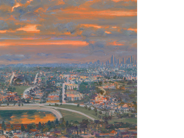 Larry Cohen View of Downtown at Sunset 1988 oil on canvas