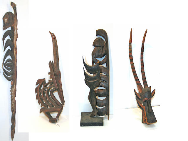 Four ethnographic items: headdress, mask, hook figures (2)