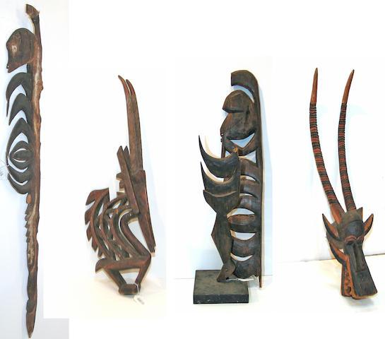 Four ethnographic items: headdress, mask, hook figures (2)