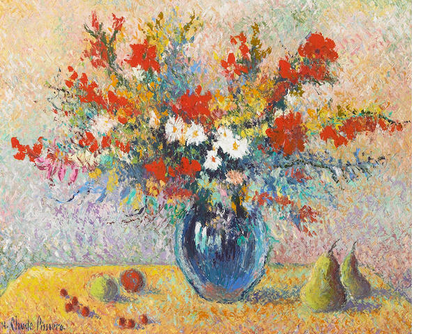 H. Claude Pisarro Le Bouquet aux Fruits oil on canvas 16 x 20