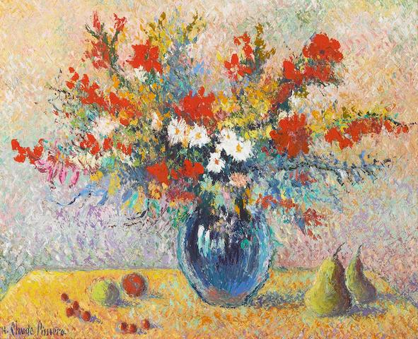 H. Claude Pisarro Le Bouquet aux Fruits oil on canvas 16 x 20