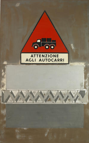 Euginio Carmi, Attenzione agli autocarri, 1964, metal plates on wood panel