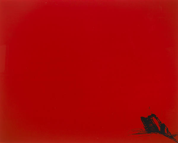 Troy Brauntauch, Untitled (3), silkscreen on red paper, each numbered 2/10, framed