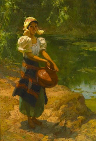 Fernando Cueto Amorsolo 1937 A Young Girl Collecting Water oil on canvas laid on board