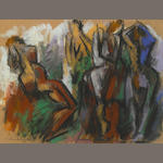 Hans Burkhardt (Swiss/American, b.1904) Group of People signed pastel on paper