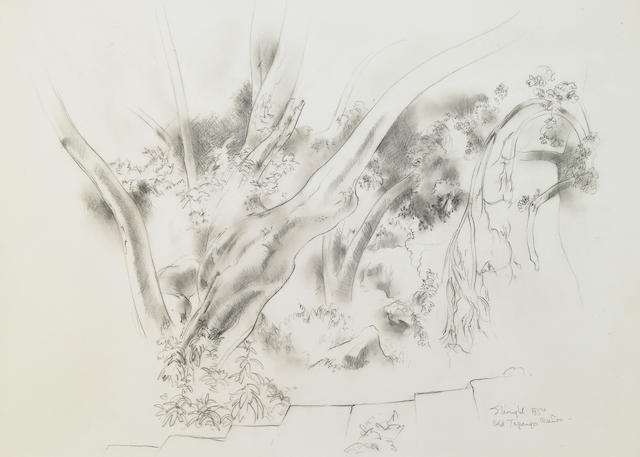Stanton MacDonald-Wright (American, 1890-1973) Old Topanga Canyon, 1954 signed pencil on paper