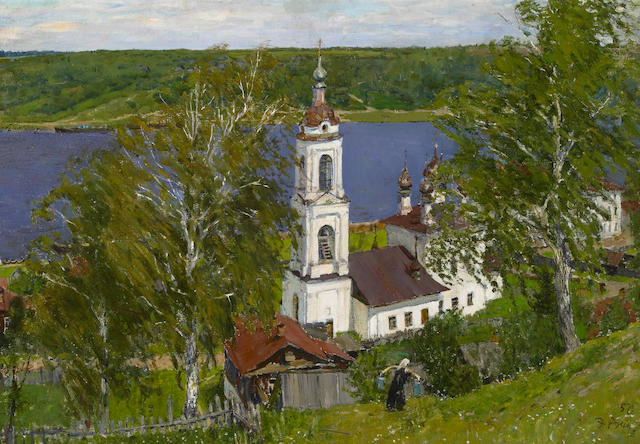 Edvard Y. Virgikovsky (Russian, b.1928) Old Church on the Volga, 1950 18 x 26 1/4in (45.7 x 66.6cm)