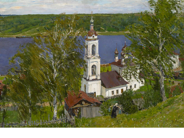 Edvard Y. Virgikovsky (Russian, b.1928),   Old Church on the Volga, 1950 18 x 26 1/4in (45.7 x 66.6cm)