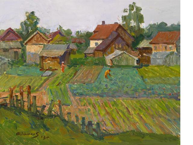 Fyodor D. Kolesov (Russian, b.1919) Gardens, 1957 15 1/2 x 19 1/2in (39.5 x 49.5cm)
